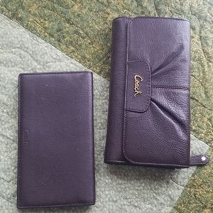 Coach full size maroon wallet / cheque book cover